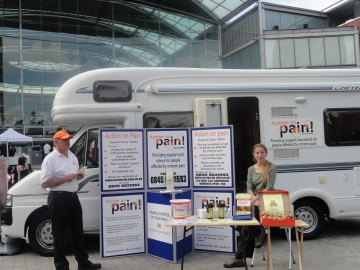 Action on pain mobile unit distributing information about managing chronic pain